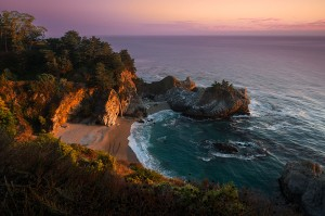McWay Falls is a waterfall with an 80 foot drop down to a pristine beach on the Pacific coast in Big Sur, California.