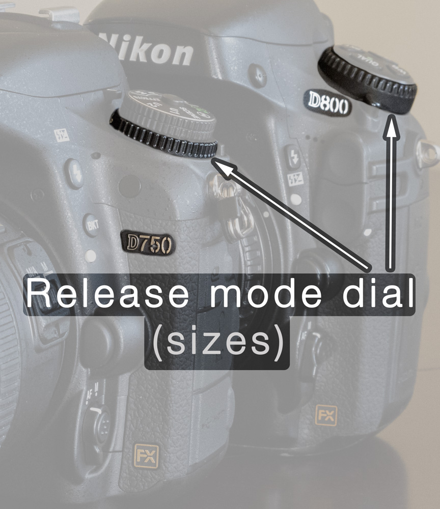 Notice how much smaller the Release mode dial is on the D750