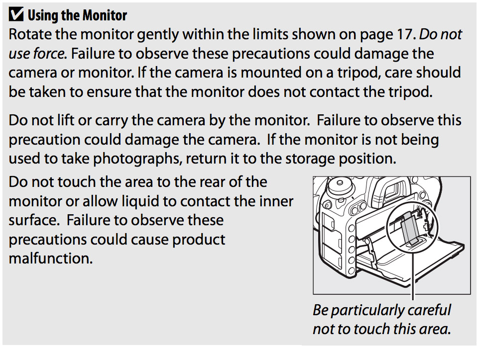 D750 monitor warning