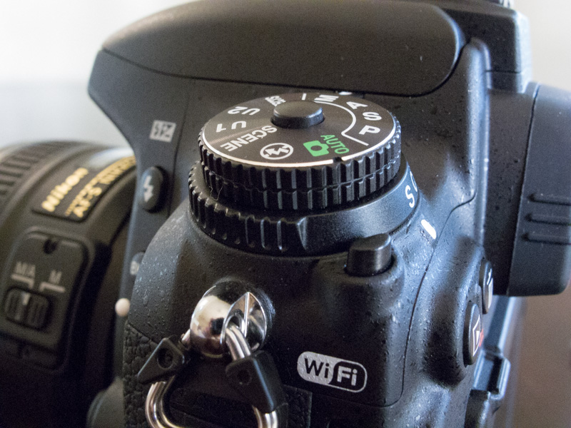 Side view of Release mode dial on the Nikon D750